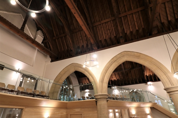 Structural glass lobby with bespoke doors & balustrading to heritage church, Bourton on water