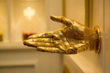 A unique gold 'hand-le' designed exclusively for London's St Martins Lane hotel