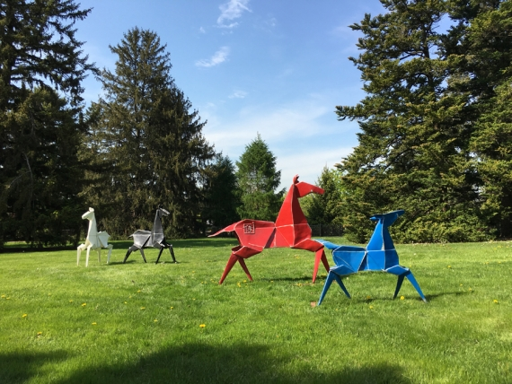 Origami in the Garden is a series of sculptures exploring the ancient art form of origami